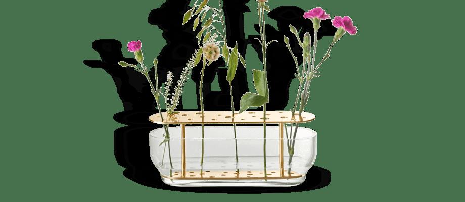 Fritz Hansen Objects Ikebana Long Vas i mässing och glas av Jaime Hayon