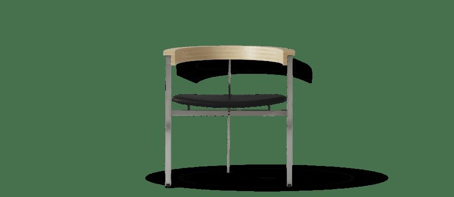 Fritz Hansen PK11 Karmstol i massivt trä, stål och läder av Poul Kjærholm
