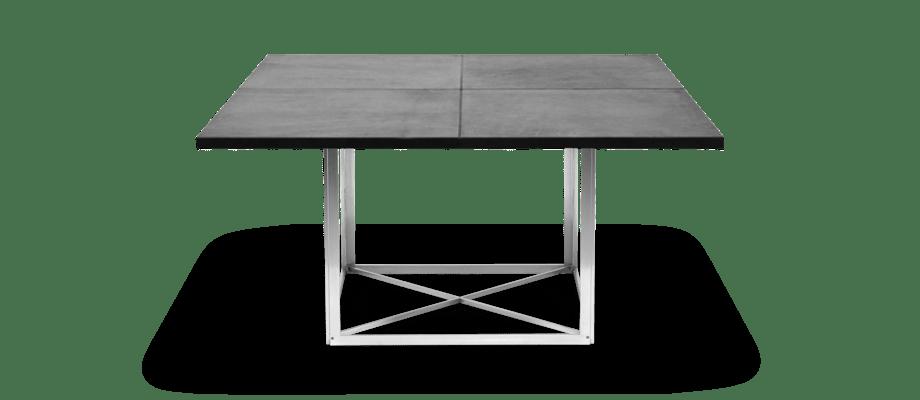 Fritz Hansen PK40 Bord med kvadratisk läderklädd bordsskiva