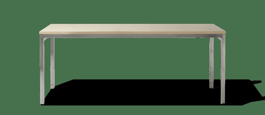 Fritz Hansen PK55 Bord i rostfritt stål och askfanér