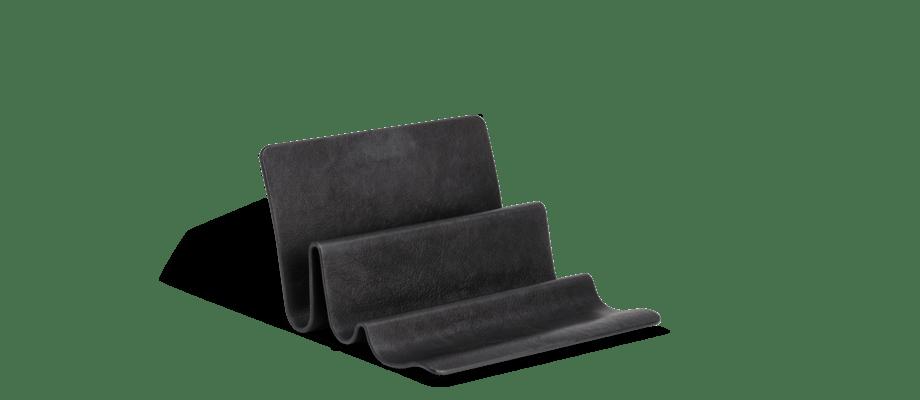 Fritz Hansen Wave Desk Organiser i stål och svart läder