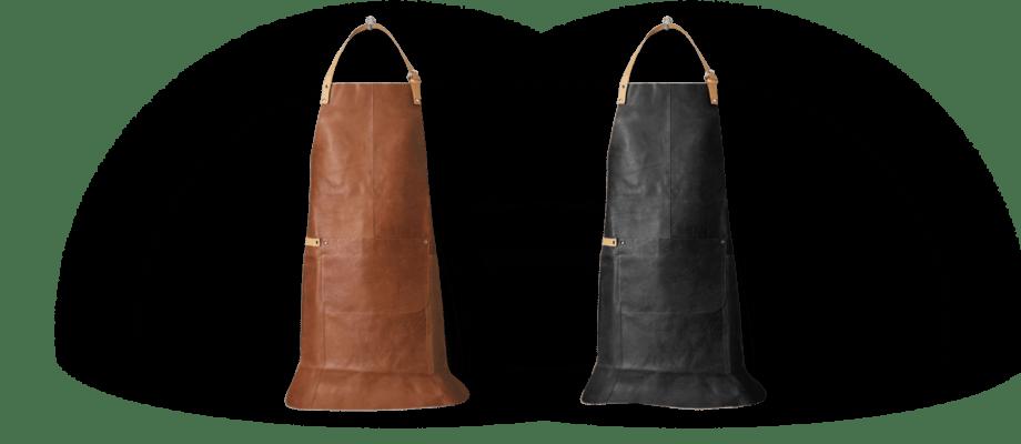 Fuego är ett snyggt förkläde i läder från Linum Design i brun eller svart färg