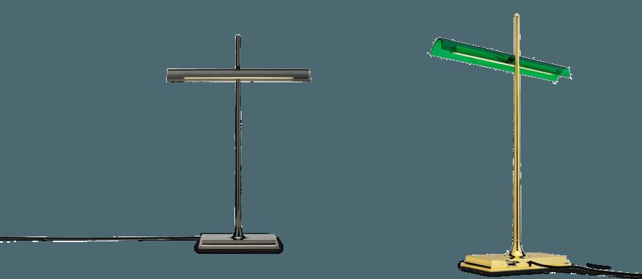 Flos Goldman är en bankirlampa och finns i både mässing med grönt glas eller helt i svart
