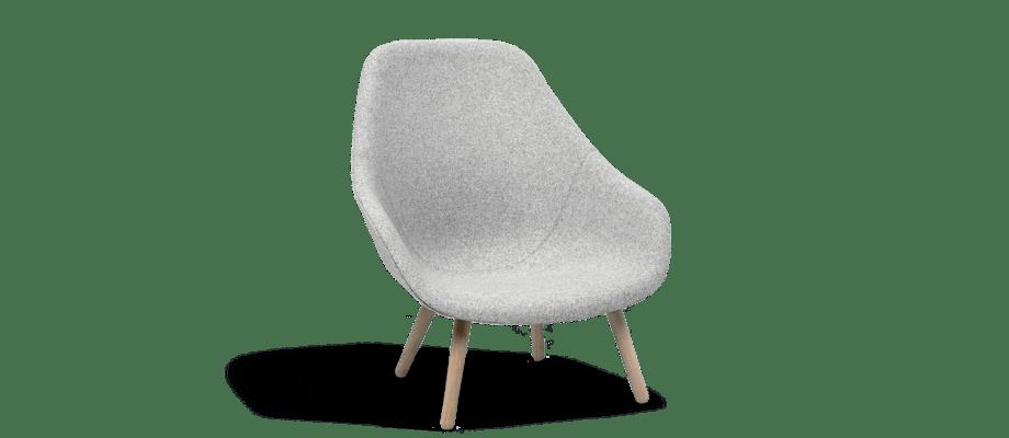 HAY About a Lounge AAL92 Fåtölj i grå färg med ben av ek