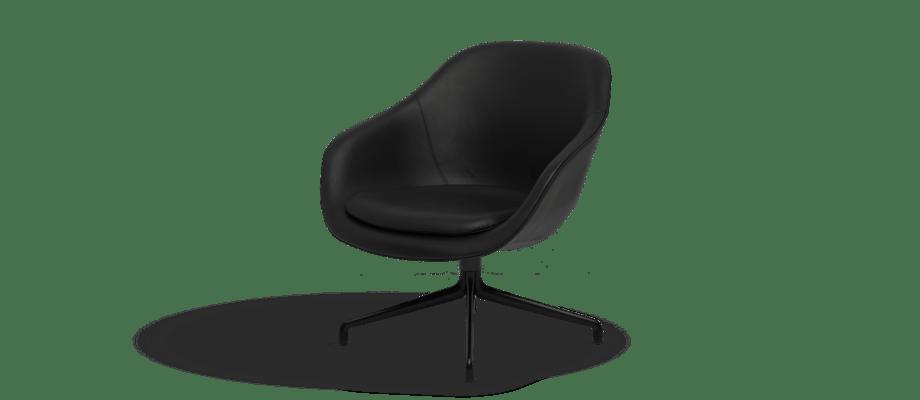 HAY About a Lounge AAL82 Fåtölj i svart läder med svartlackerade stålben