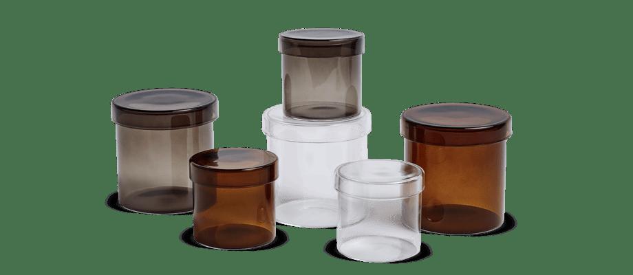 HAY Container Glasburk Grått, brunt och transparent glas