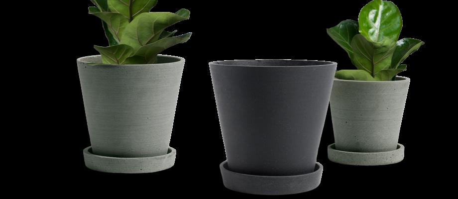 HAY Flowerpot with Saucer Kruka Grön och svart