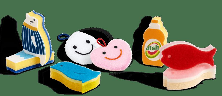 HAY Kitchen Market Mount Fuji, Cat, Penguin, Drop, Heart, Dish Wash, Fish Sponge Disksvampar