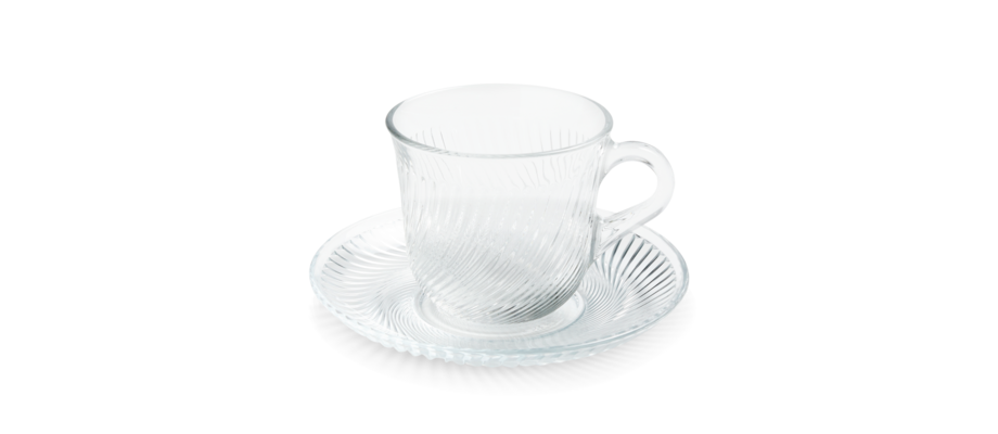HAY Pirouette Cup and Saucer Kopp med fat i mönstrat glas
