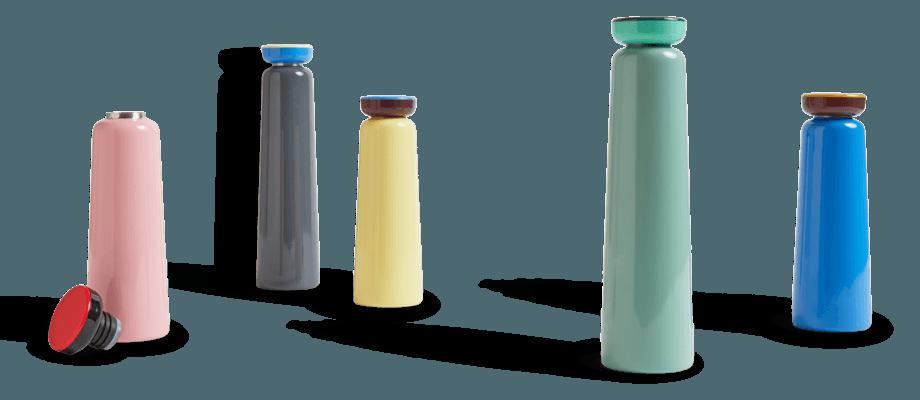 HAY Kitchen Market Sowden Bottle Flaska i blå, rosa, gul, grå och mint