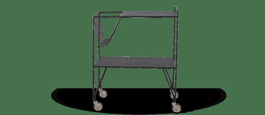 House Doctor Use Rullbord med två hyllplan i svart, perforerat stål