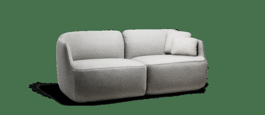Ire Möbel Como 2-sitssoffa i ljusgrått tyg