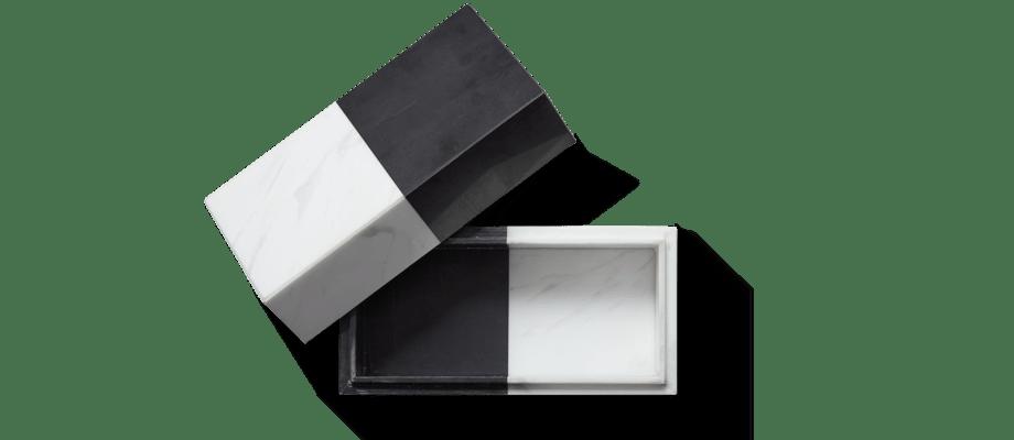 Jonathan Adler Canaan Box Marmorask i vit och svart färg