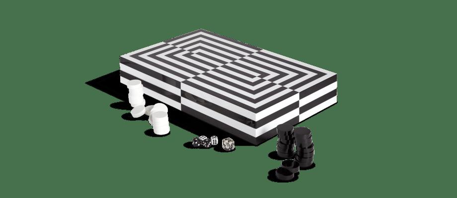 Jonathan Adler Op Art Backgammon Set Sällskapsspel