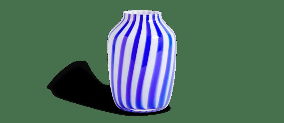 HAY Juice Vase Blue High Vas med blått och vitt randigt mönster