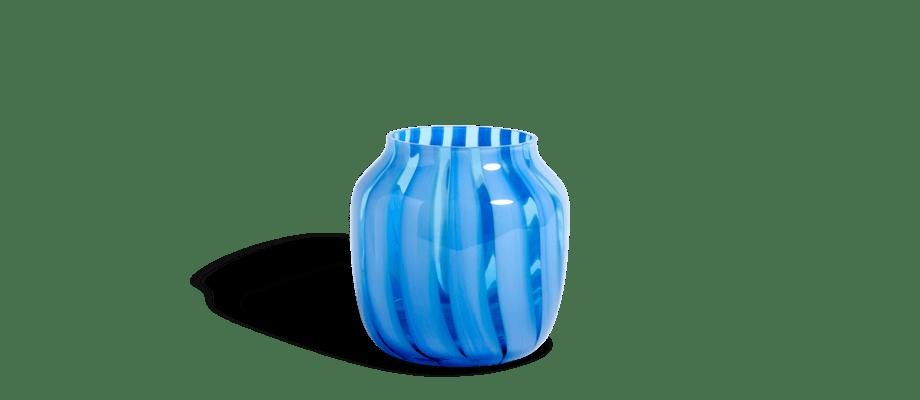 HAY Juice Vase Light Blue Vas i ljusblått glas med ränder