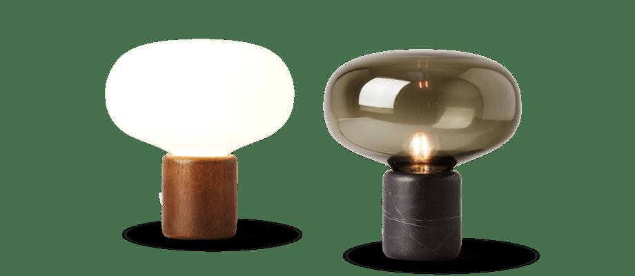 New Works Karl-Johan är en lampa i marmor eller ek med opalglas eller rökfärgat glas