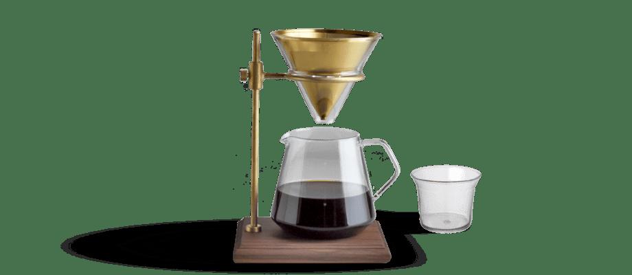 Kaffebryggaren Slow Coffee Style Specialty från japanska Kinto i valnöt och mässing