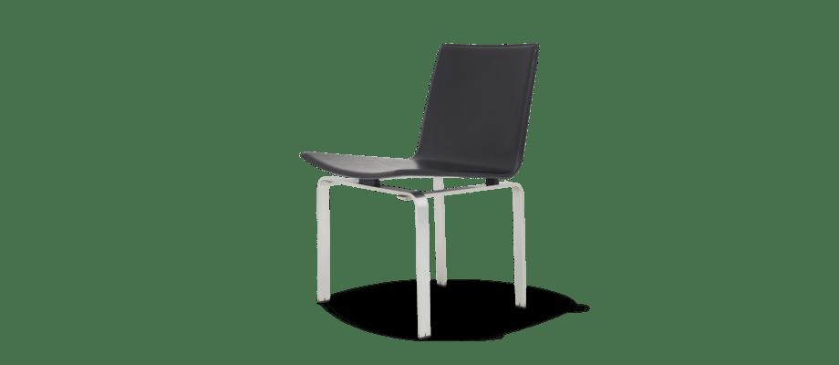 Klassik Studio JH3 Dining Chair Stol i borstat stål och svart läder