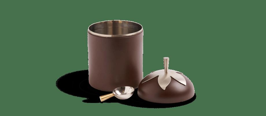 Klong Blad Kaffeburk med skopa och mässingsdetalj