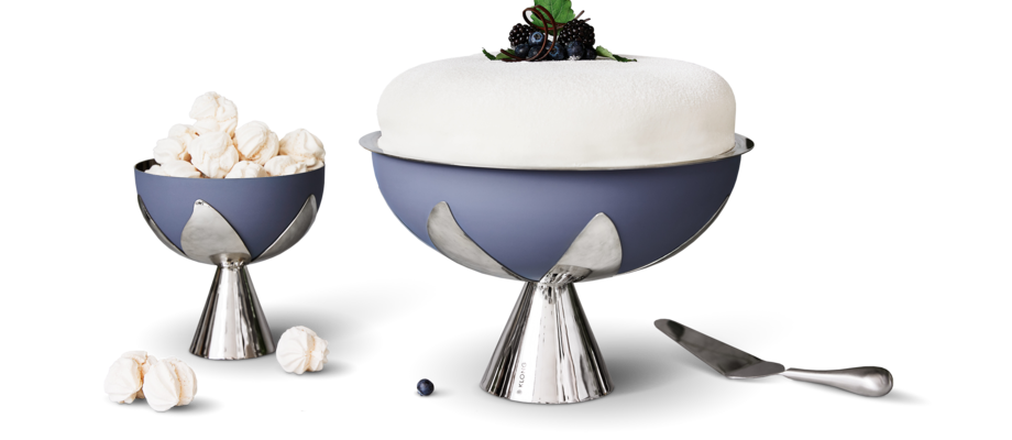 Klong Blad Skål och tårtfat i pulverlackerat och rostfritt stål