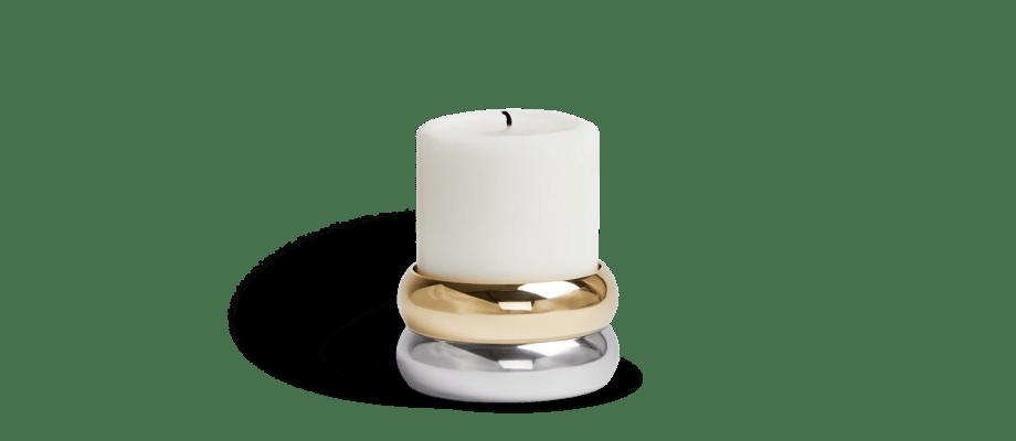 Klong Marriage Blockljusstake i mässing och blankpolerad aluminium
