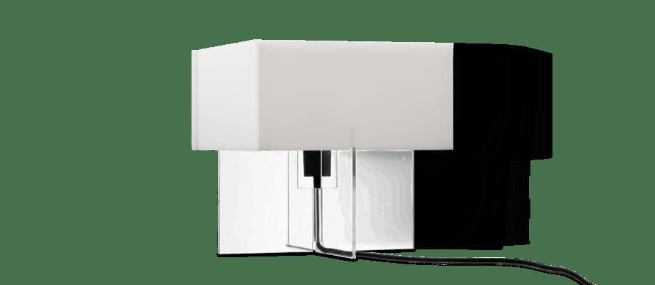 Lightyears Cross-Plex T-300 Bordslampa i vitt opalglas och genomskinlig akryl