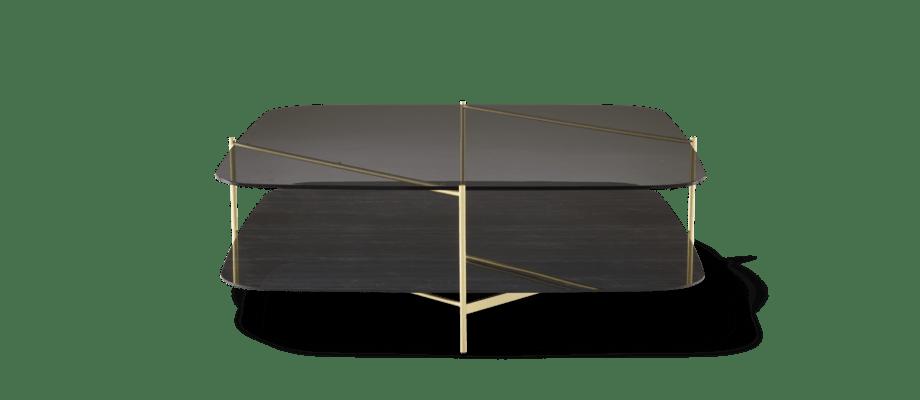Ligne Roset Clyde Soffbord i rökfärgat glas och svart stengods