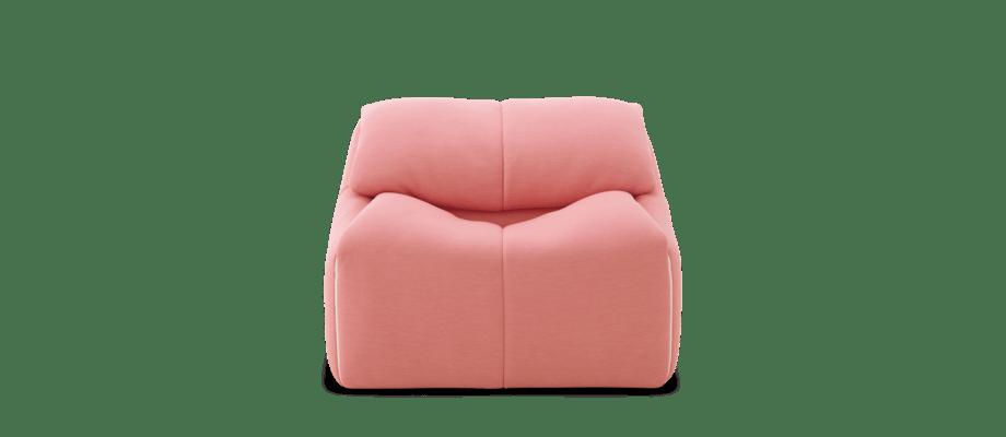 Ligne Roset Plumy Fåtölj i rosa tyg med vit dragkedja