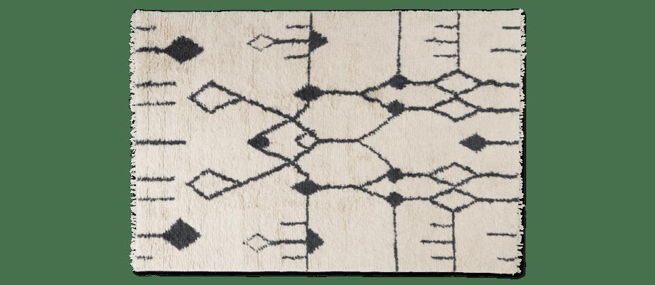 Linie Design Aragon Handknuten matta med bas i vitt och svart mönster