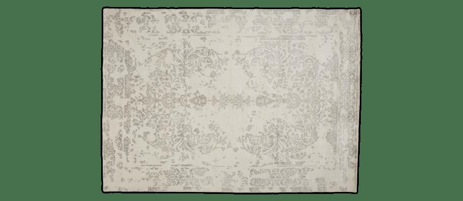 Linie Design Florentine Grey Matta i viskos och ull med ett ljusgrått mönster