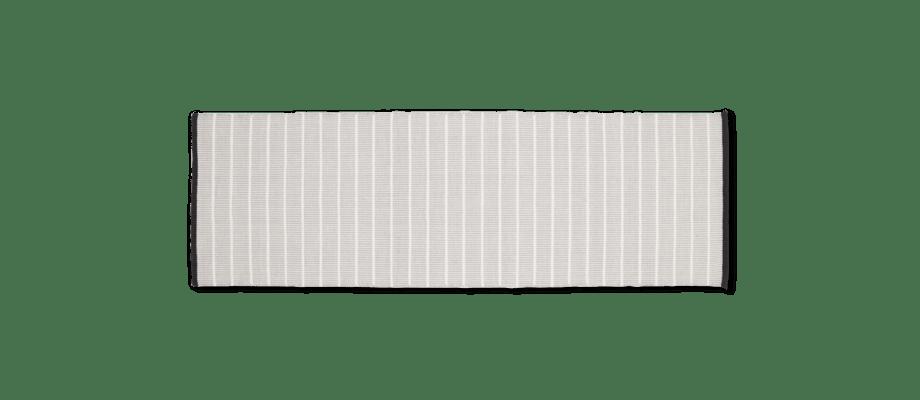 Linie Designs gångmatta Revelin Grey med ränder, tillverkad i bomull och ull