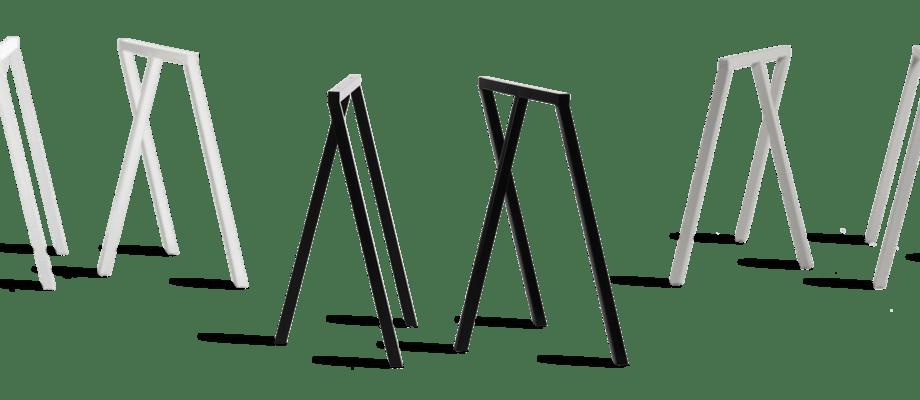Skapa ditt eget unika bord med benbockarna Loop Stand i svart, vit eller grå från HAY
