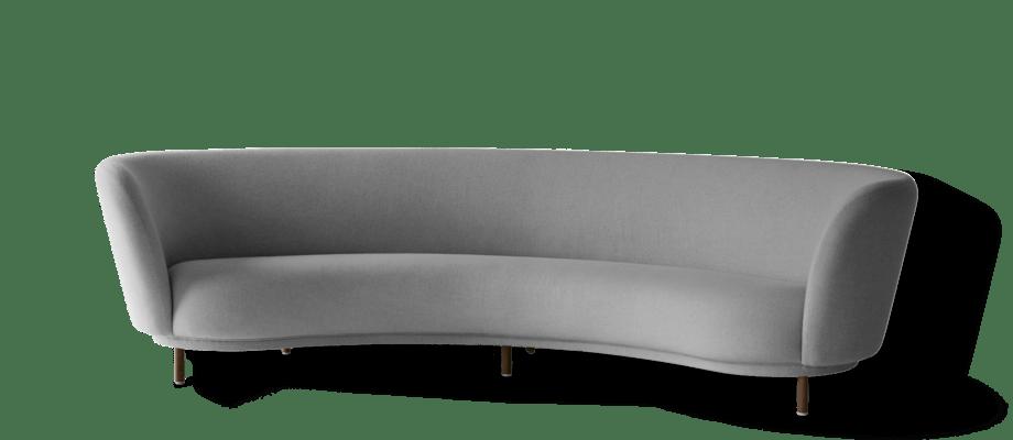 Massproductions Dandy 4-sitssoffa i grått tyg och ben i valnötsbetsad bok