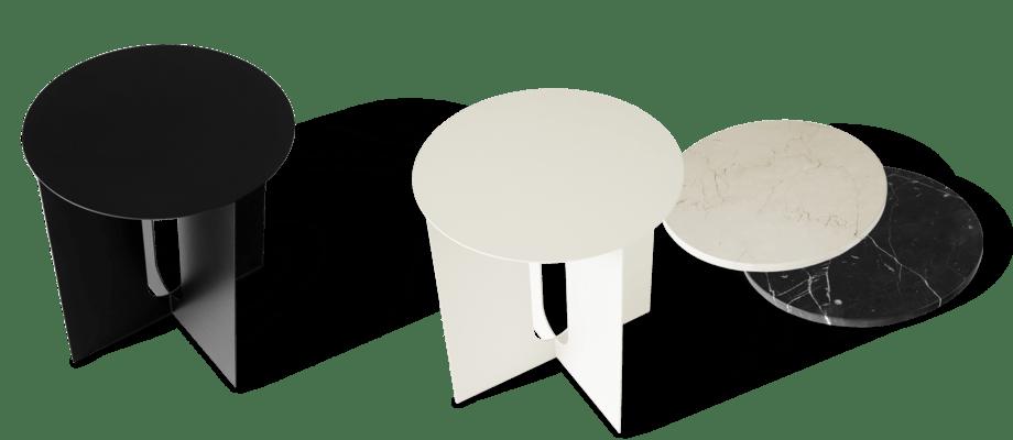 Menu Androgyne Sidobord i svart och vit färg med marmorskivor