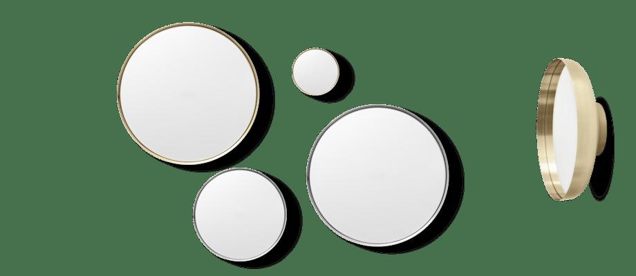 Menu Darkly Mirror Spegel i storlekarna small, medium och large i både mässing och aluminium