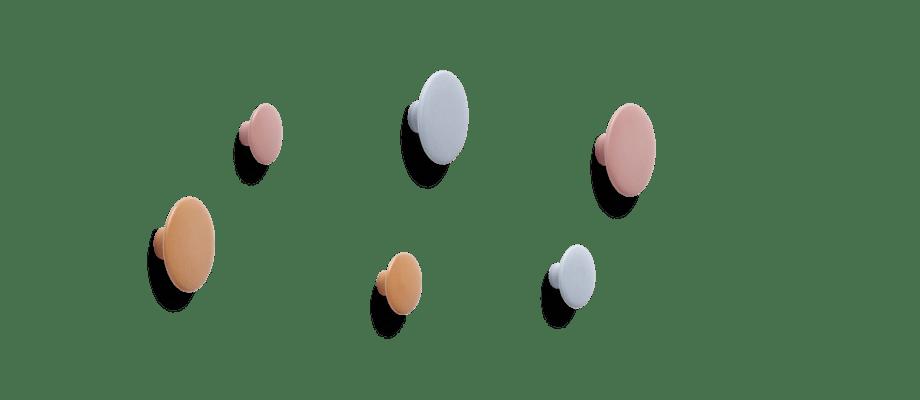Muuto Dots Ceramic i färger rosa, ljusblå och orange