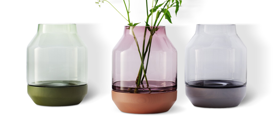Muuto Elevated Vas i ask och glas med grön, rosa och grå färg