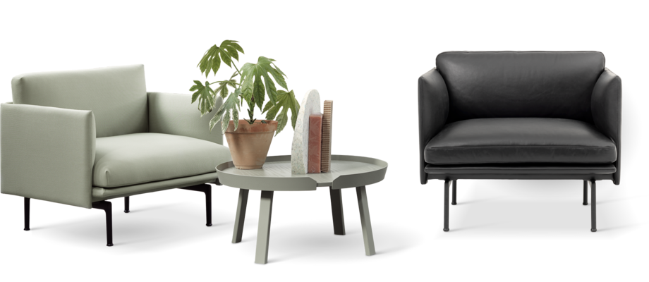 Muuto Outline Studio Fåtölj i ljusgrönt tyg och svart skinn