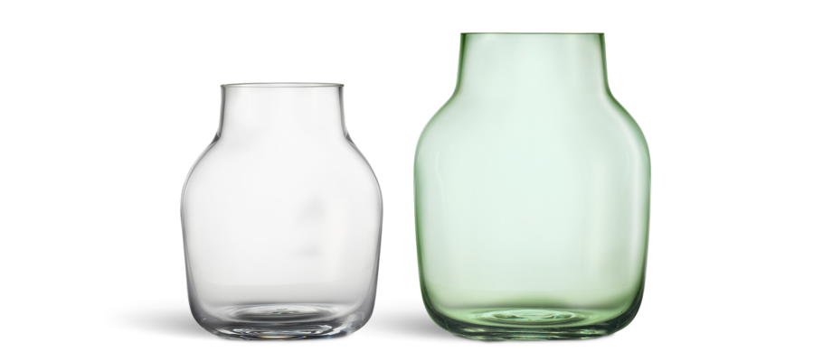 Muuto Silent Vase Vas i small och large i klart och grönt glas