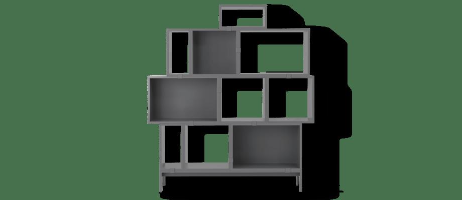 Muuto Stacked Configuration 5 Bokhylla i en mörk grå färg