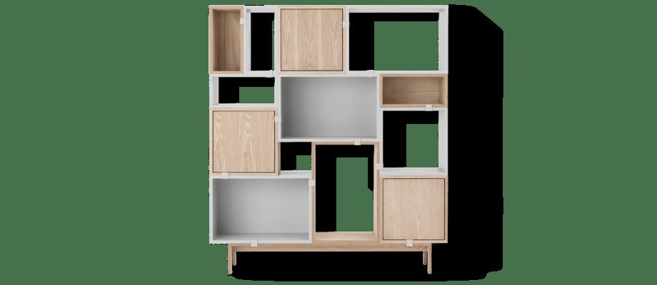 Muuto Stacked Configuration 6 Bokhylla i ek och ljusgrå färg