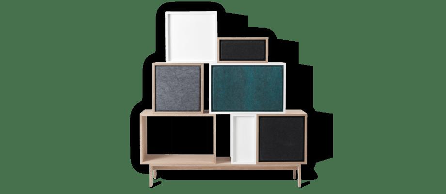 Ljudabsorbent till Muutos hyllsystem Stacked i filt med flera val av färg