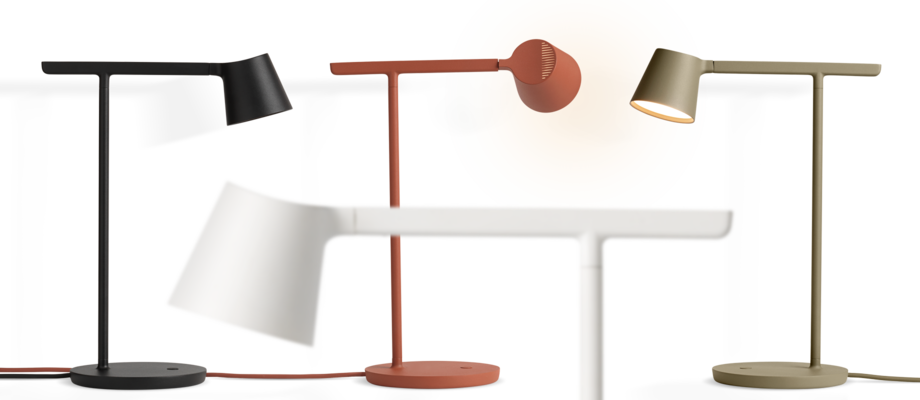 Muuto Tip Table Lamp Bordslampa i svart, vit, copper brown och olive