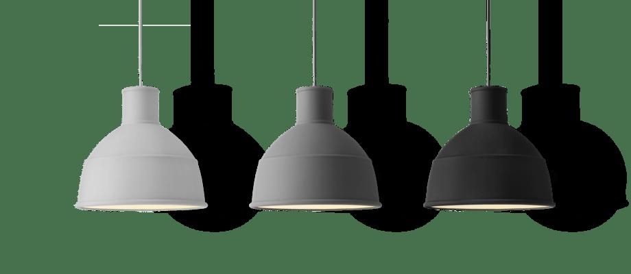 Muuto Unfold Pendant Pendel i ljusgrå, mörkgrå och svart färg