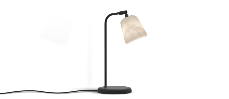 New Works Material Table Lamp Black Sheep Edition Bordslampa i vit marmor med dimmer
