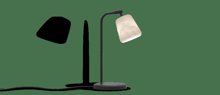 New Works Material Table Lamp Black Sheep Edition Bordslampa i vit marmor med dimmer