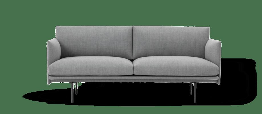 Muuto Outline soffa med 2-sits i det grå tyget Fiord 151