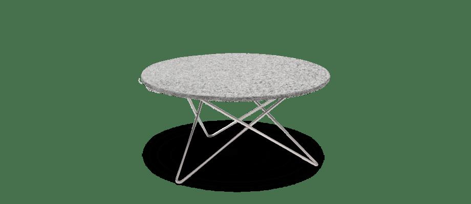 OX Denmarq O Table Outdoor Utemöbel bordsskiva i grå granit med underrede av rostfritt stål