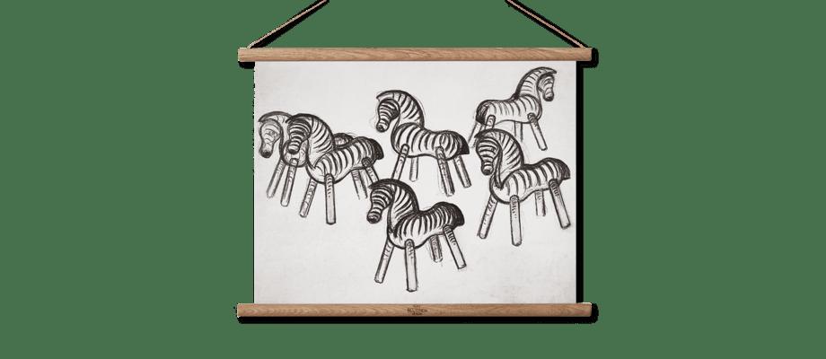 Rosendahl Kay Bojesen Zebra Print 40x30 cm med träprofiler
